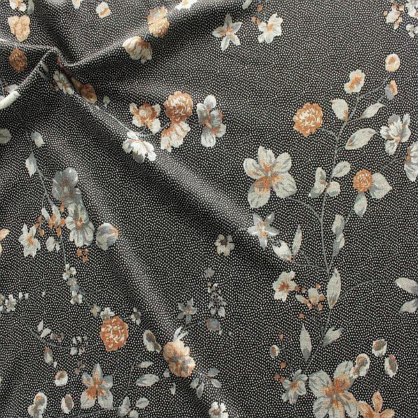 Feinstrick Jersey Blütenzweige & Tupfen Schwarz