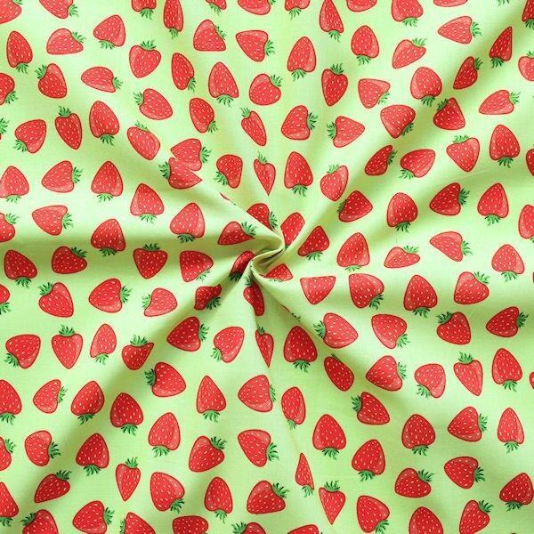"""100% Baumwollstoff """"Erdbeeren Mittel"""" Farbe Hell-Grün"""
