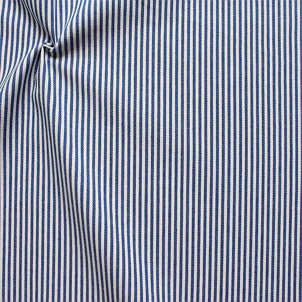 Baumwolle Denim Jeans Stoff Streifen Schmal Royal-Blau Weiss