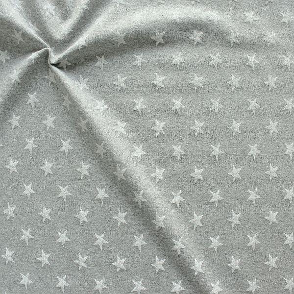Sweatshirt Baumwollstoff French Terry Sterne Used Look Hell-Grau meliert