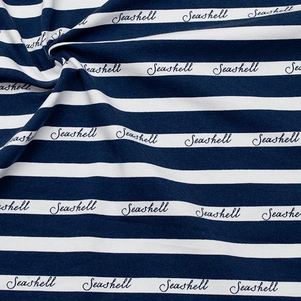 Baumwoll Stretch Jersey Seashell Stripes Weiss-Blau