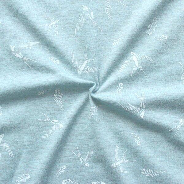 Baumwoll Stretch Jersey Schwalben & Federn Blau-Grau meliert