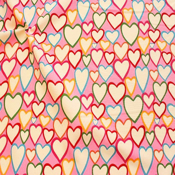 Dekostoff Canvas Optik Herzen Mix Rosa