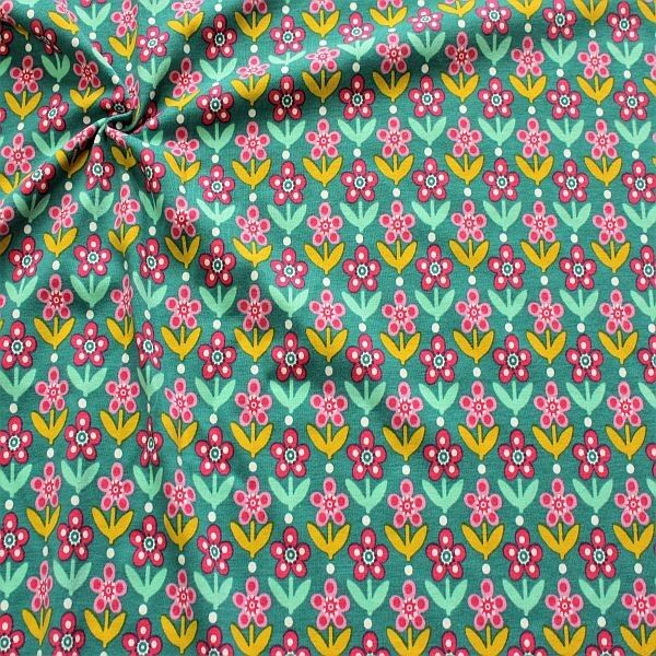 Baumwoll Stretch Jersey Blumen Reihen Petrol-Pink