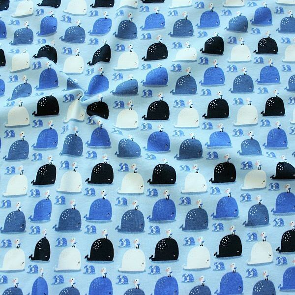 """Baumwoll Stretch Jersey """"Wal mit Möwe"""" Farbe Blau"""