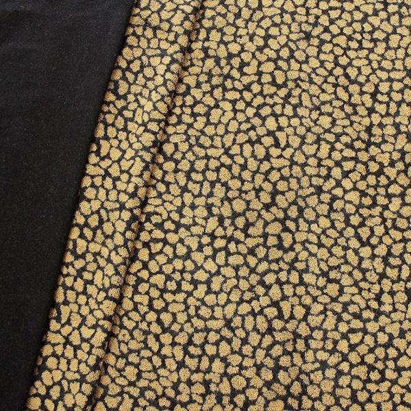"""Sweatshirt Baumwollstoff """"Animal Print 9"""" Farbe Schwarz-Gelb"""