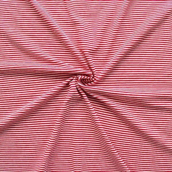 "Viskose Stretch Jersey ""Ringel Mini"" Farbe Rot-Weiss"