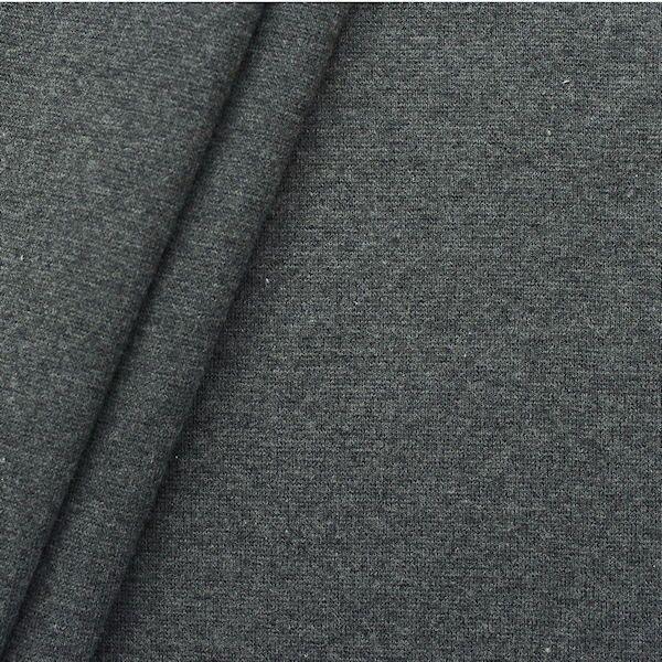 Baumwoll Bündchenstoff glatt Dunkel-Grau meliert