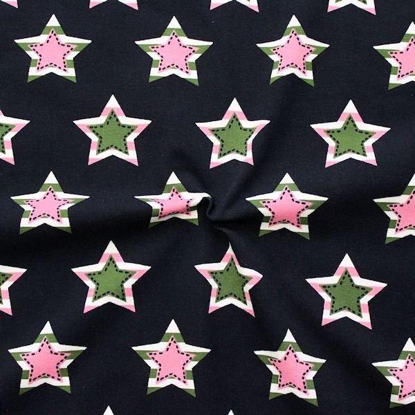 "Baumwoll Stretch Jersey ""Star Patches"" Farbe Dunkel-Blau"