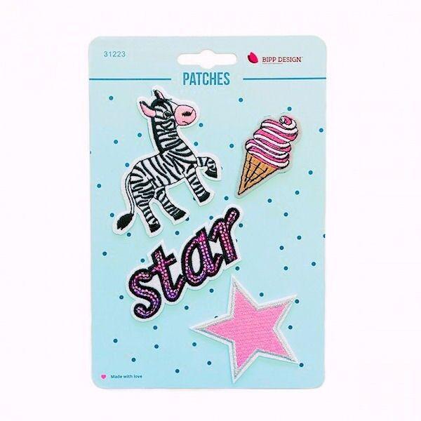 Patches Bügelbilder 4er Set Zebra Star