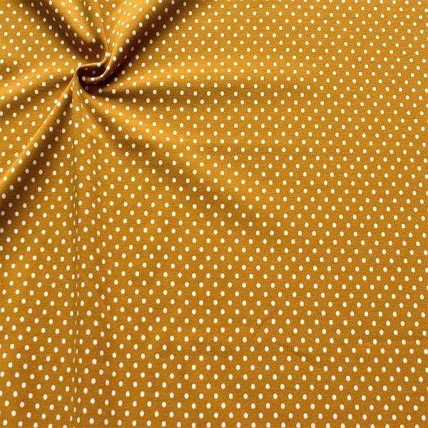 Baumwoll Stretch Jersey Punkte Klein Curry-Gelb