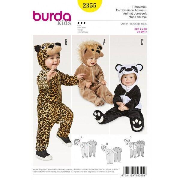 Tieroverall – Löwe – Leopard – Panda – Kopfbedeckung, Gr. 74 – 98, Schnittmuster Burda 2355