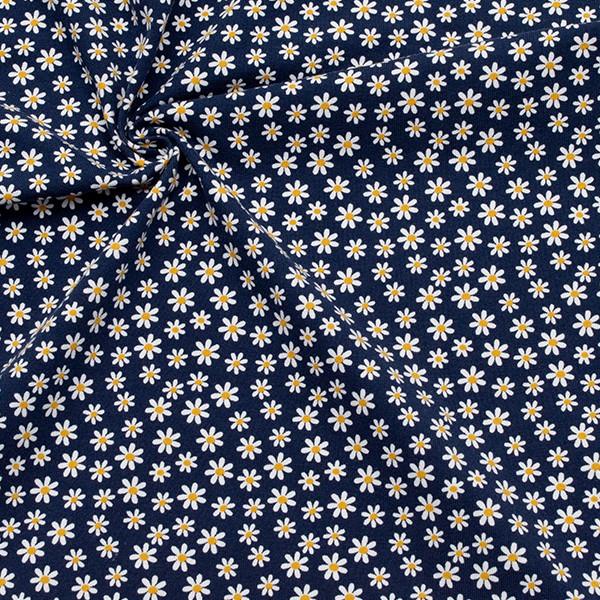 Baumwoll Stretch Jersey Gänseblümchen Marine-Blau