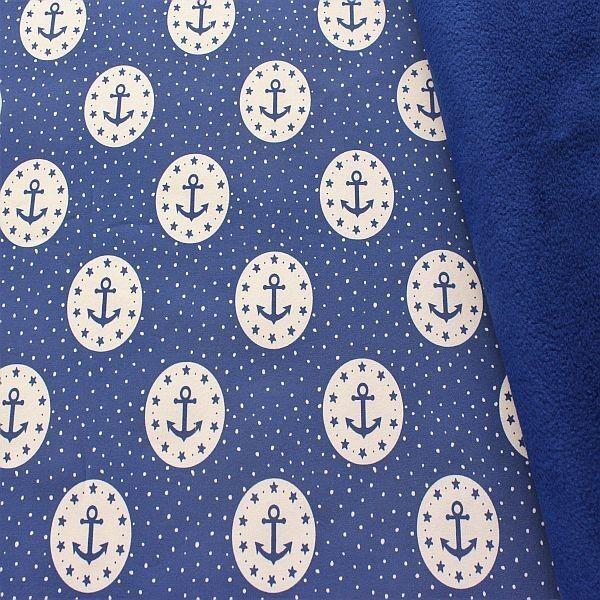Softshell Fleece Anker in Kreis & Tupfen Blau