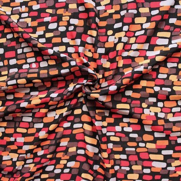 "Modestoff ""Cobbles"" Farbe Schwarz-Orange"