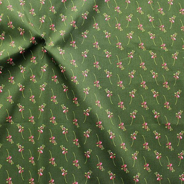 Baumwollstoff Trachten Blütenzweig Dunkel-Grün