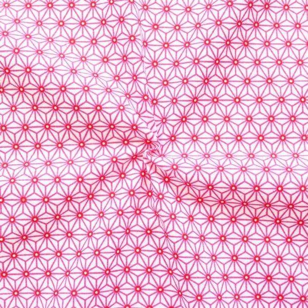 """100% Baumwollstoff """"Skandinavischer Stern"""" Farbe Weiss-Pink"""