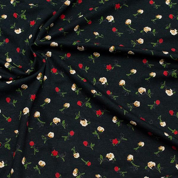Viskose Stretch Jersey Röschen klein Schwarz