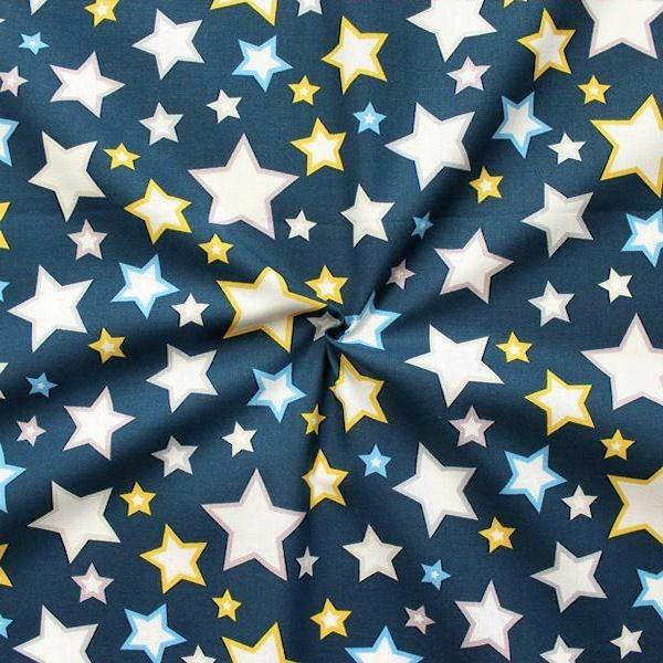 """100% Baumwollstoff """"Sterne Mix 17"""" Farbe Blau"""