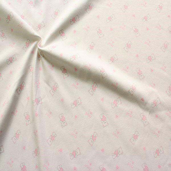 Interlock Baumwoll Stretch Jersey Kleiner Bär Ecru-Rosa