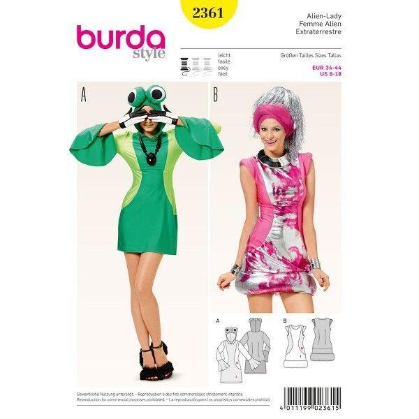 Alien-Lady – effektvolle Mini-Kleider, Gr. 34 - 44, Schnittmuster Burda 2361