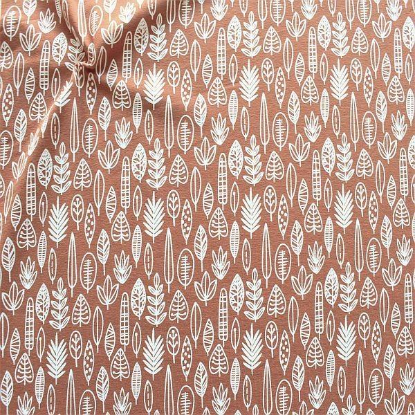 Baumwoll Stretch Jersey Blätter-Mix Terrakotta