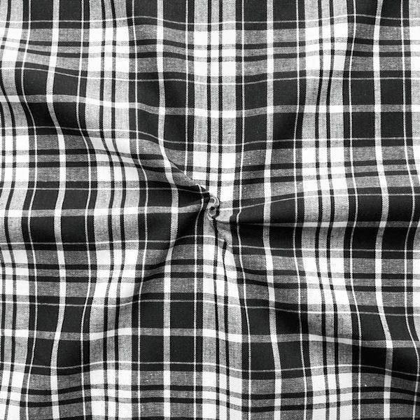 """100% Baumwollstoff """"Fashion Check"""" Farbe Schwarz-Weiss"""