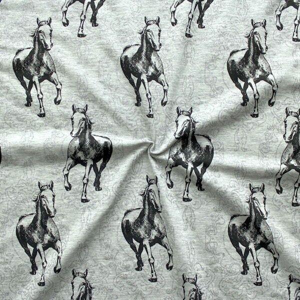 """Baumwoll Stretch Jersey """"Pferde und Glitzer"""" Farbe Grau meliert"""