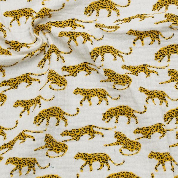 100% Baumwolle Musselin Double Gauze Leoparden Weiss