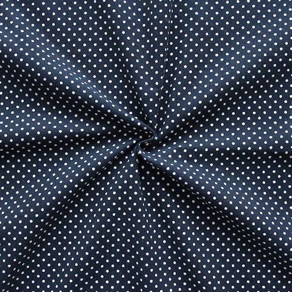"""Feincord Baumwollstoff """"Punkte Klein"""" Farbe Navy-Blau"""