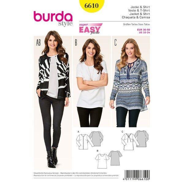 Jacke - Shirt - Tunika - schön schlicht, Gr. 36 - 50, Schnittmuster Burda 6610
