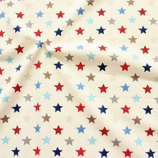 Baumwoll Stretch Jersey Bunter Sterne Mix Ecru-Blau