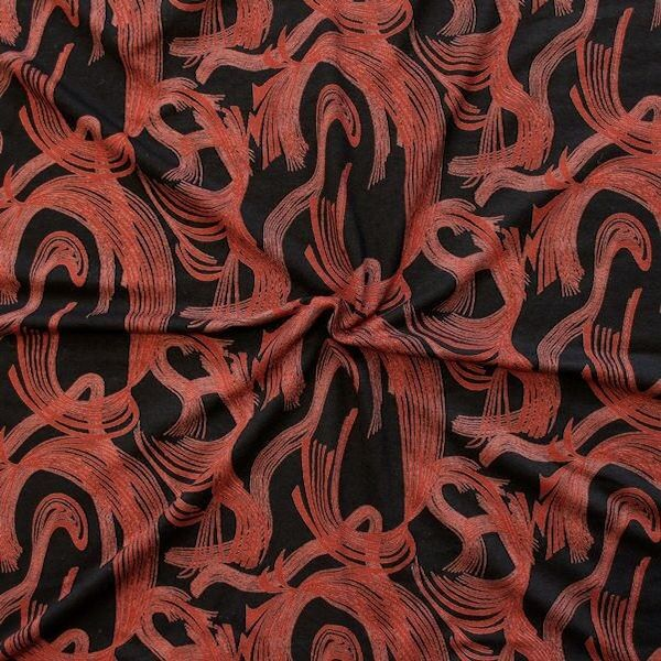 "Viskose Stretch Jersey ""Fashion Print 14"" Farbe Schwarz"