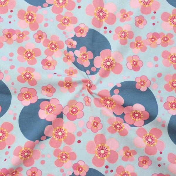 Baumwoll Stretch Jersey Blossom & Dots Hell-Blau
