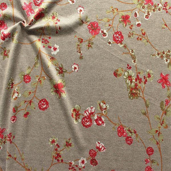 Feinstrick Jersey Blütenzweige & Tupfen Taupe