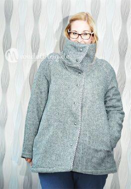 Tweed-Wollstoff-grau