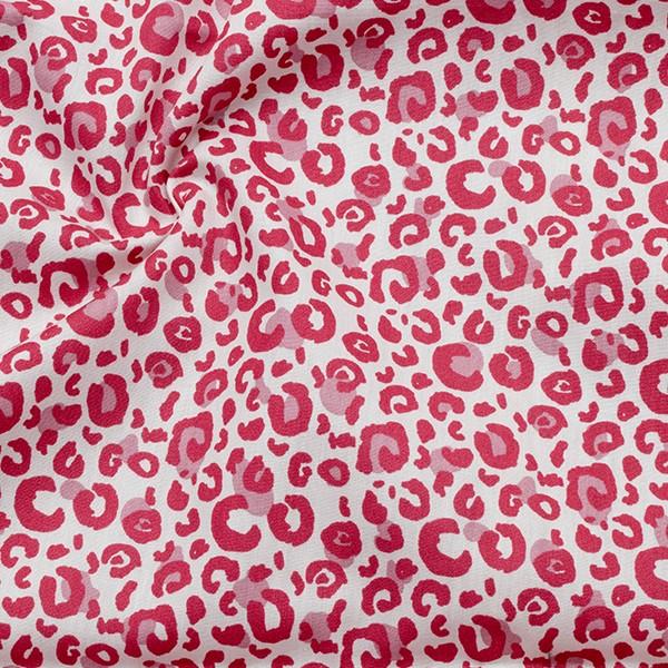 100% Baumwolle Popeline Leopard Weiss-Pink