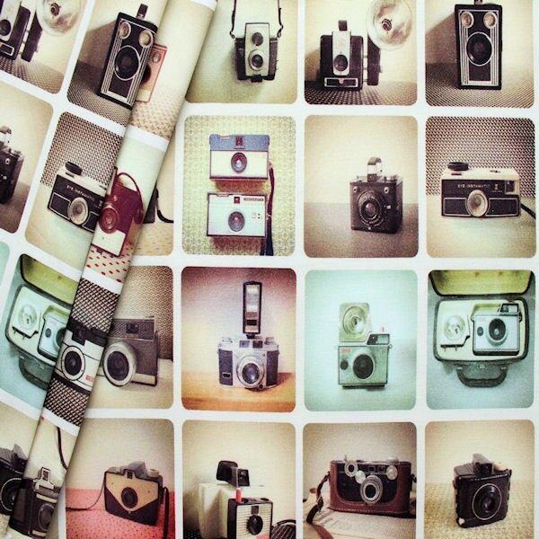 "Dekostoff Digital Druck ""Retro Kameras"" Multicolor"