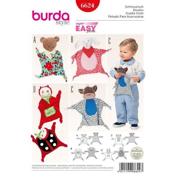 Burda 6624 Schmusetuch Schnittmuster für Bärchen, Schäfchen, Äffchen und Käfer