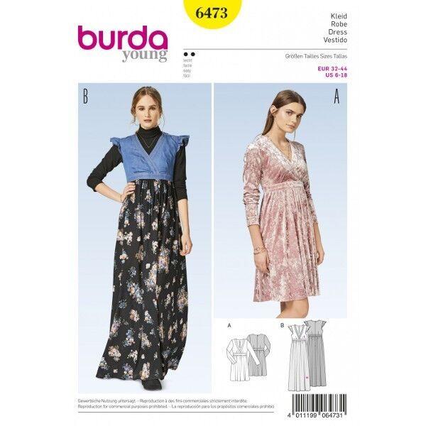 Kleid mit erhöhter Taille – Wickeleffekt – Ausschnittblende, Gr. 32 - 44, Schnittmuster Burda 6473
