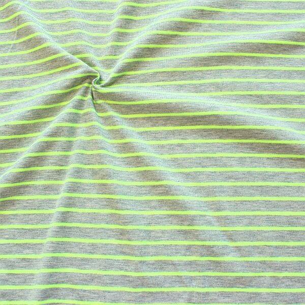 Baumwoll Stretch Jersey Neon Ringel Gelb-Grau meliert