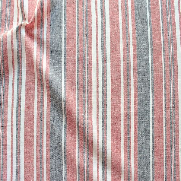 Leinen-Baumwolle Summer Stripes Rot-Blau-Weiss