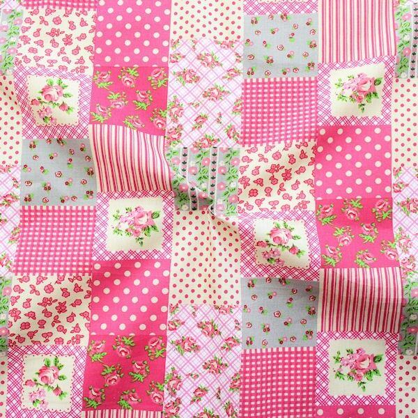 "100% Baumwolle Popeline ""Landhaus Patchwork 2"" Farbe Pink"