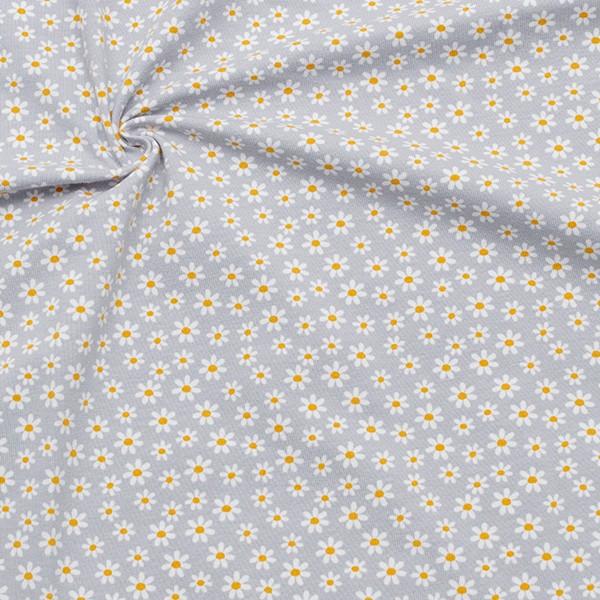 Baumwoll Stretch Jersey Gänseblümchen Hell-Grau