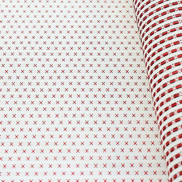 Jacquard Indoorstoff Outdoorstoff Crosses Ecru-Rot