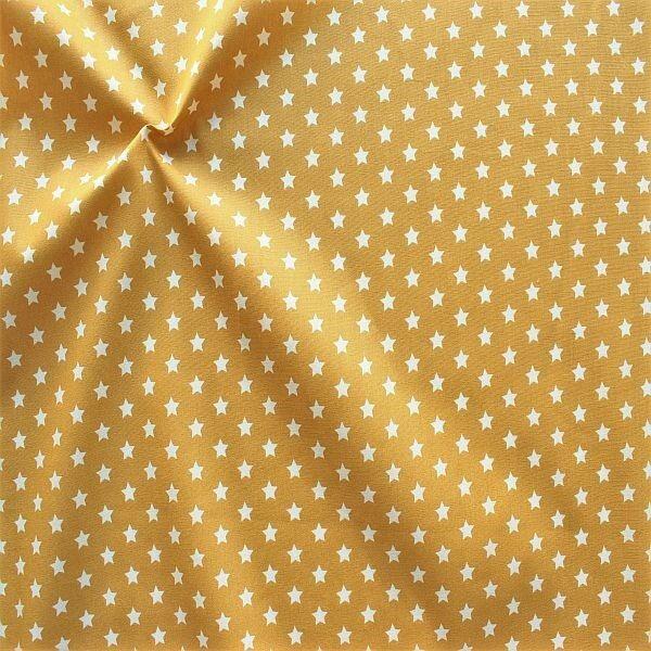 Baumwollstoff Sterne Mittel Ocker-Gelb