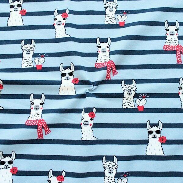 Blauer Sweatshirtstoff French Terry 'Happy Lamas'