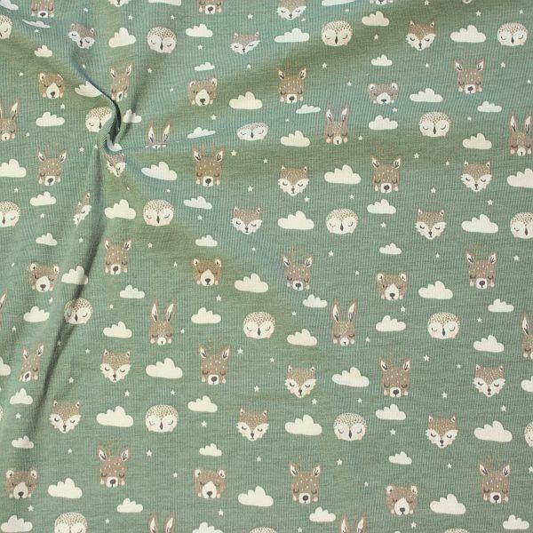 Baumwoll Stretch Jersey Waldtiere Wolken Sterne Grau-Grün