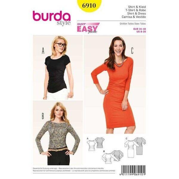 Shirt, Kleid mit Raglanärmeln, Gr. 34 - 46, Schnittmuster Burda 6910