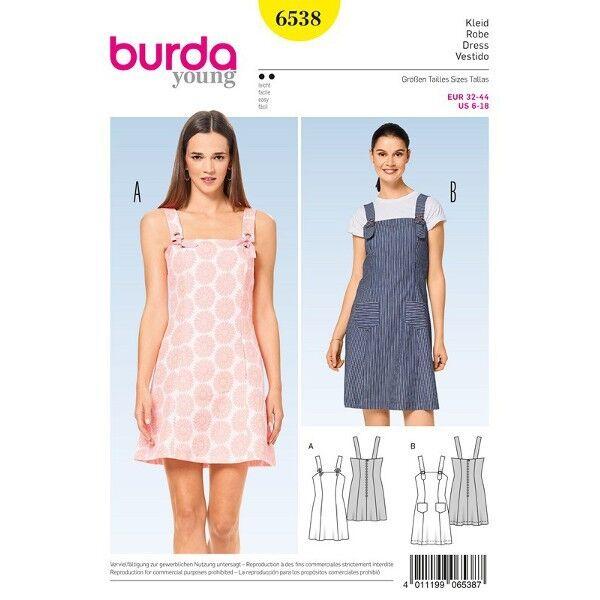 Kleid - Trägerkleid - Teilungsnähte, Gr. 32 - 44, Schnittmuster Burda 6538